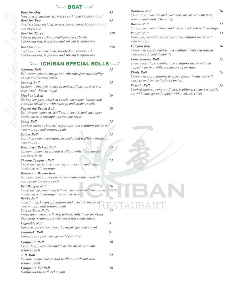 Menu Ichiban Japanese Restaurant